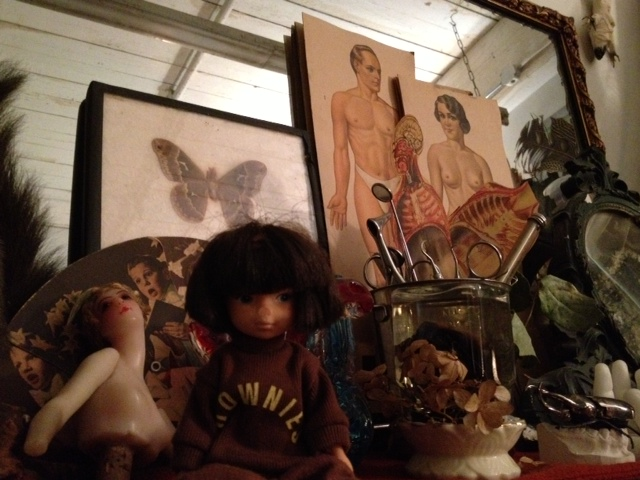 Little Brownie (our favourite doll) made some new friends at the Morbid Anatomy Library. Photo: Nikki Shaill 2013