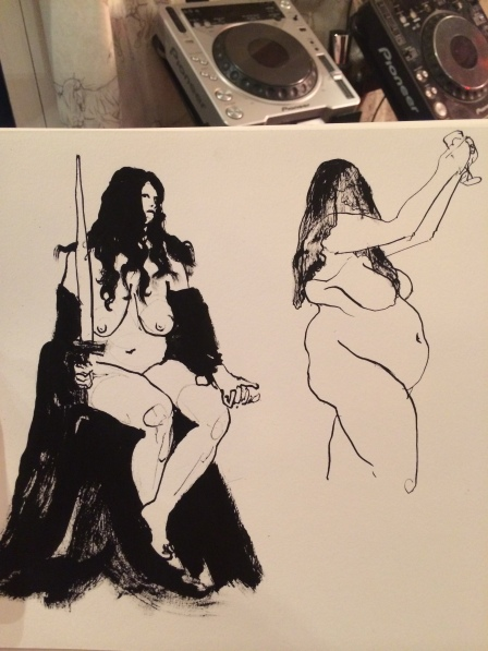 Justice (left) and The Queen of Cups (right) as drawn by Aaron Jacob Jones