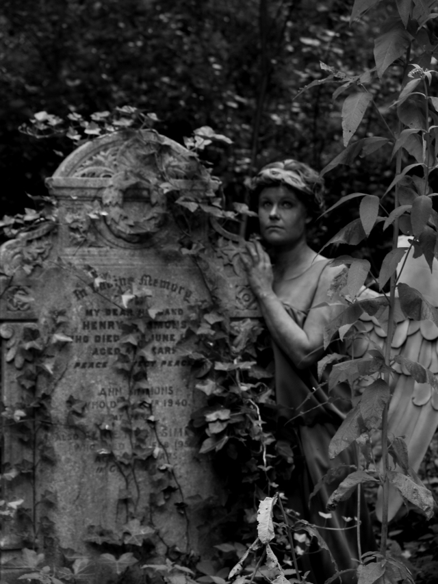 Ava Iscariot posing as The Weeping Angel at Tower Hamlets Cemetery. Part of Art Macabre at Shuffle Festival 2014. Photo: Linsay Trerise c